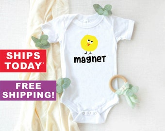 Easter Funny Baby Onesie\u00ae Bodysuit Chick Magnet