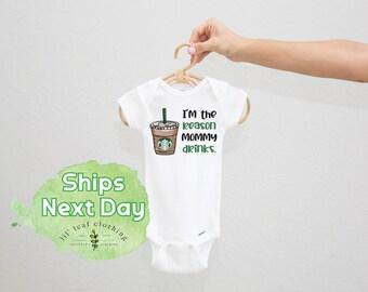 I'm The Reason Mommy Drinks Onesie®   Coffee Unisex Baby Onesie® or Toddler Tshirt (300)