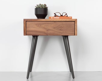 Mid Century Bedside Table With Drawer, Modern Nightstand In Walnut, Mid Century Modern Furniture