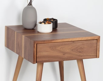 Mid Century Nightstand, Bedside Table With Drawer In Walnut, Modern Nightstand