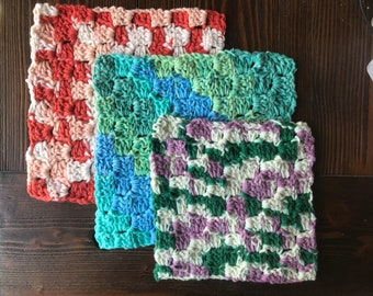Set of 3 Crochet Dishcloths