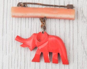 Vintage red Elephant brooch, Vintage brooch, vintage animal jewelry