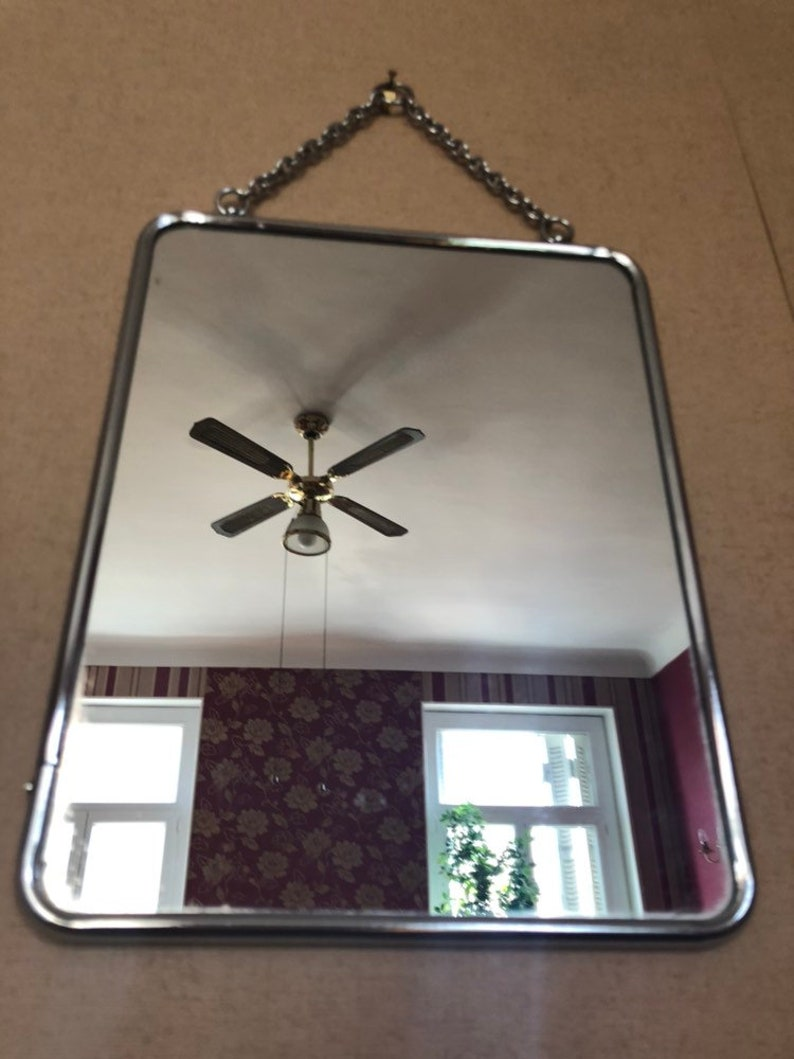 Vintage 60 S Barber Mirror With Its Chain Miror Barber Miror 21 X 27 Cm Bathroom Mirror