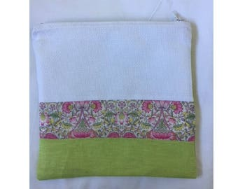 Floral clutch cross - stitch Embroidery cotton and soft green linen - canvas aida 5.5 pts/cm