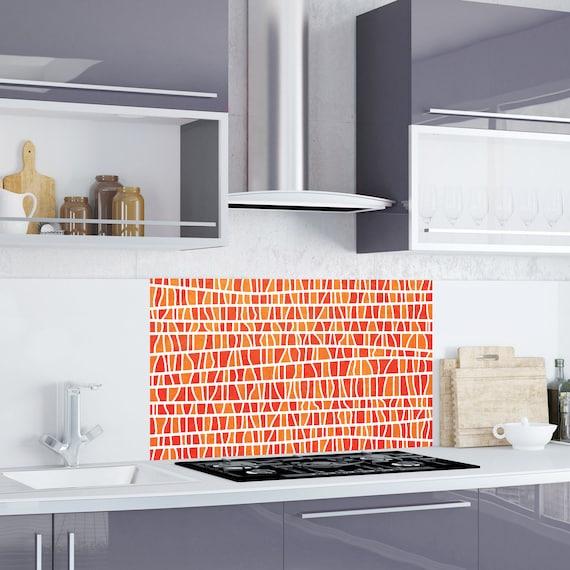 Burnt Orange Branches Kitchen Bathroom Backsplash Sticker Etsy