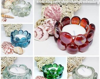 Candle Holder-Tea Lights-Beaded-Glass Beads-Red-Blue-Green