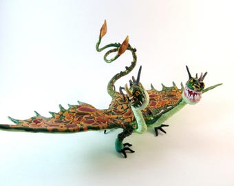 Hideous zippleback etsy how to train your dragon httyd dragon polymer clay fantesy sculpture hand made hideous zippleback barf and belch free shipping ccuart Gallery