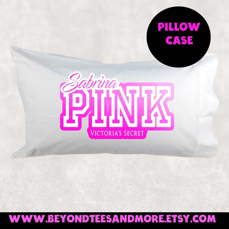 Pink Vs Personalized Pillowcase Pink Victoria Etsy