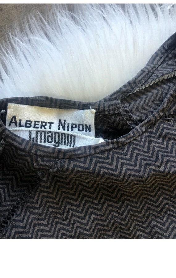 Vintage Albert Nipon IMagnin Silk Chevron Poet Sl… - image 3