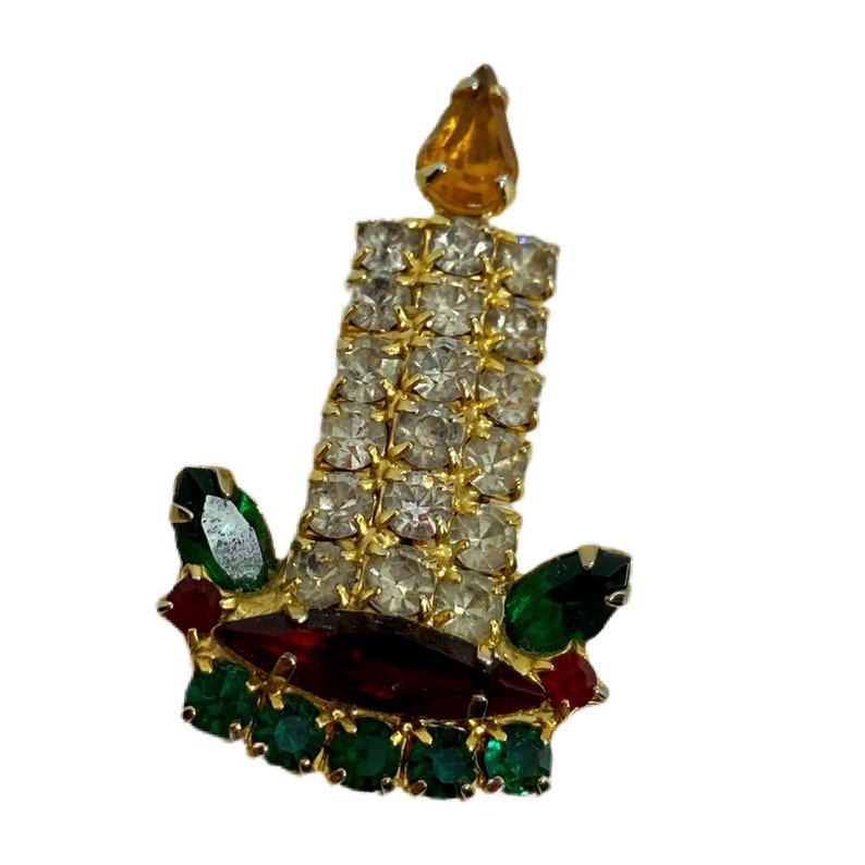 Wee Vintage Holiday Candle Brooch  Rhinestone Christmas Jewelry