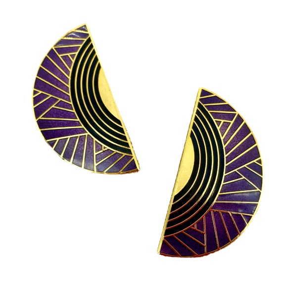Lovely Deco Style Isle of Skye Enamel Earrings - V