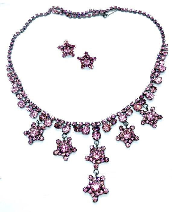 Pretty in Pink Bohemian Star Necklace & Earring Set - Crystal Gypsy Jewelry