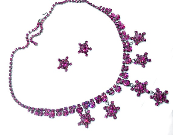 Sexy Boho Hot Pink Stars Necklace & Earrings Set - Crystal Gypsy Jewelry