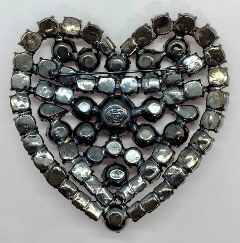 Stunning Big Romantic Red Crystal Heart Brooch Early Von Walhof