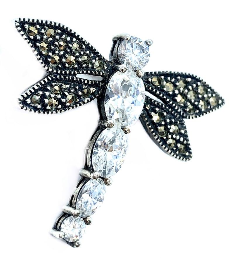 Vintage JUDITH JACK Marcasite Sterling Silver DRAGONFLY Brooch  Pin
