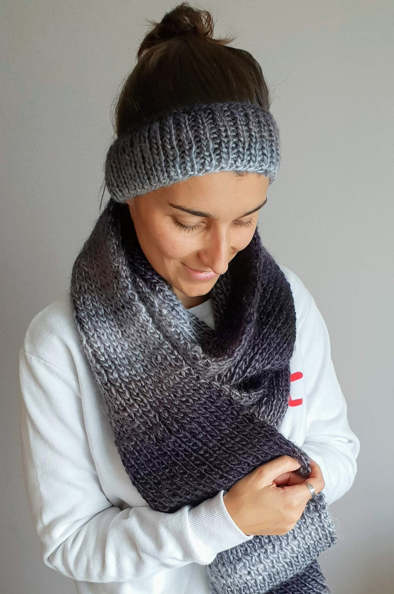BASIC Knit Pattern \u2022 Easy Knit Scarf \u2022 Easy Knit Headband \u2022 Modern Winter Wearable \u2022 Knit Winter Nights Set PATTERN