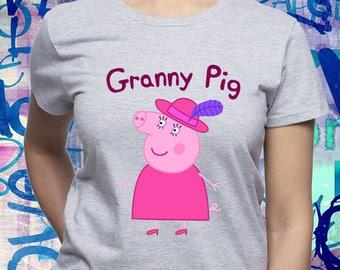Granny Pig tshirt/ Granny shirt/ Peppa Pig Family t-shirt/ Peppa Pig birthday/ nanna/ grandmother/ grannie/ grandma/ Womens t shirt/ (B64)