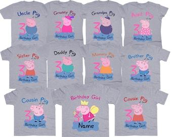Peppa Pig Birthday Shirt Girl Tshirt Custom Family Shirts Personalized Party Tee