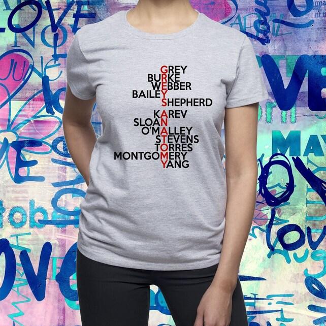 Grises anatomía camiseta / camisa de personajes de anatomía de | Etsy