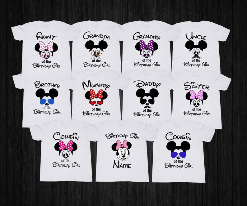 Mickey Mouse Birthday Shirt Girl Tshirt Minnie Custom Family T Shirts Disney Party Personalized Tee