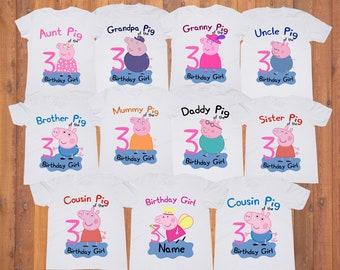 Peppa Pig Girl Birthday shirt/ Peppa Pig Birthday Girl Party tshirt/ Peppa Pig Custom Family shirts/ Personalized Shirt/ Birthday party tee