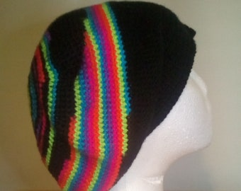 Crochet black and rainbow slouchy hat