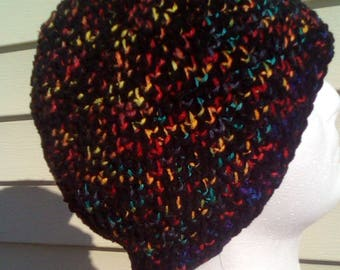 Crochet hat, black and rainbow primary colors