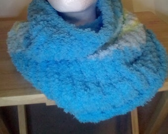 Knit infinity scarf, very soft, blue and green