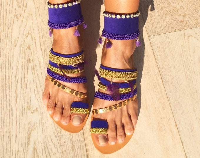 "Bohemian Greek Leather slip on sandals,Handmade to order women shoes, purple/gold ""Romy"" decorated flats, Free Shipping"