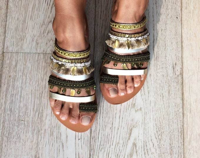 "Greek Leather Boho sandals, Slip on Handmade to order flats, Decorated gold ""Lauren""sandals"