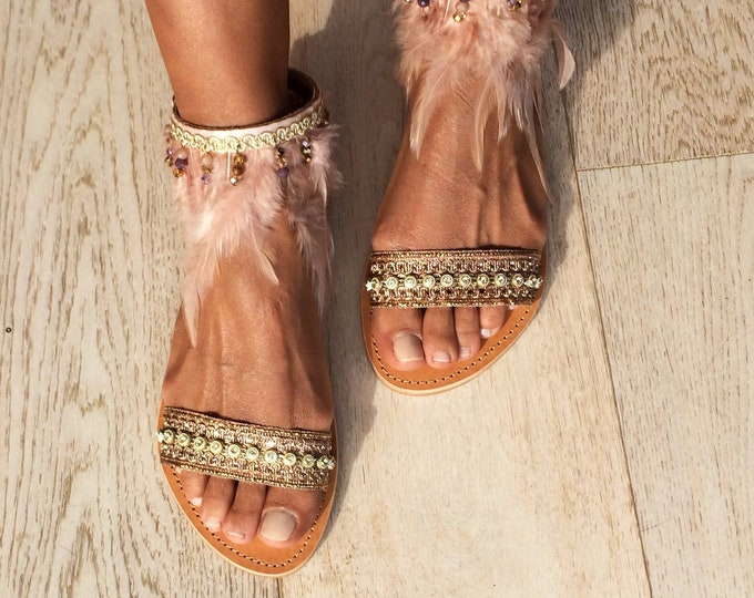 Bohemian Leather pink sandals, Handmade to order decorated Greek summer flats, Romantic and elegant Brigitte sandals, Free shipping