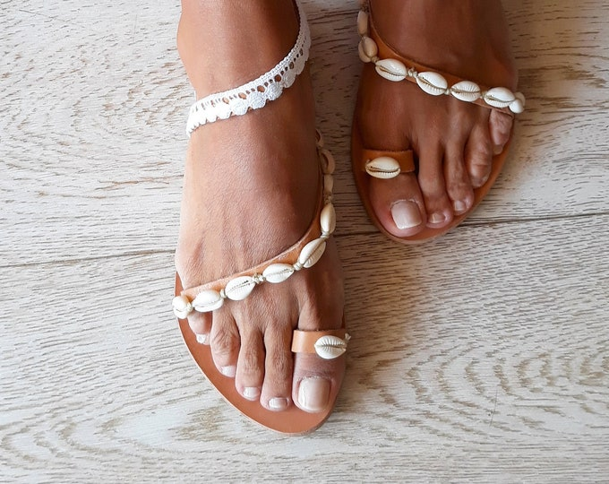 Handmade to order Wedding sandals, Greek leather bridal flats Giouli .