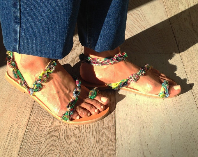 "Bohemian decorated sandals, ,hippy chic style, Handmade to order embellished green flats, ""Faye"" sandals"