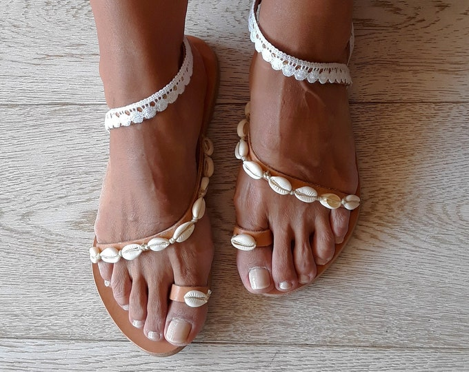 Giouli Handmade to order Wedding sandals, Greek leather bridal flats .