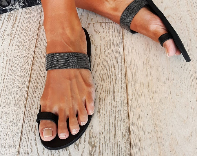 "Leather flat sandals, Greek Handmade to order sandals,  Decorated Black ""Sade ""sandals, Free shipping."