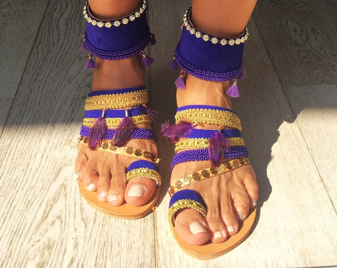 """Bohemian Greek Leather slip on sandals,Handmade to order women shoes, purple/gold """"Romy"""" decorated flats, Free Shipping"""