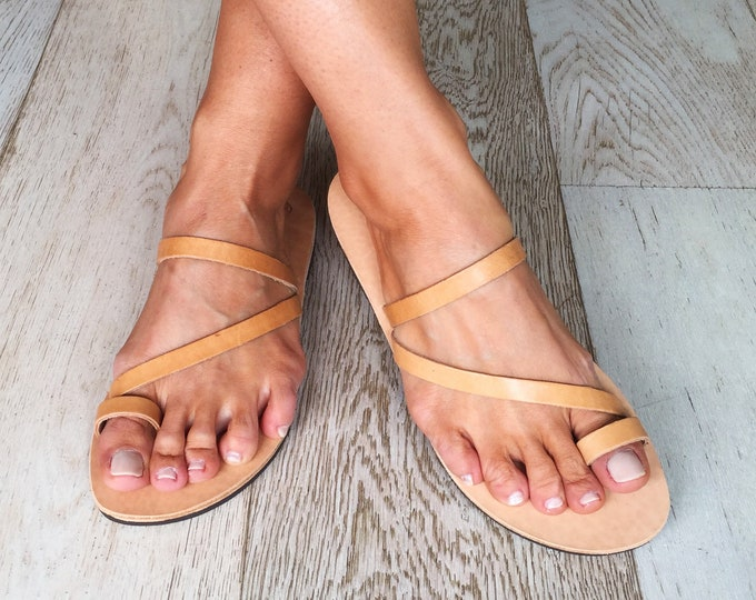 "Greek Leather sandals , Handmade to order flats, Simple yet so elegant  women shoes, ""Kea"" sandals"