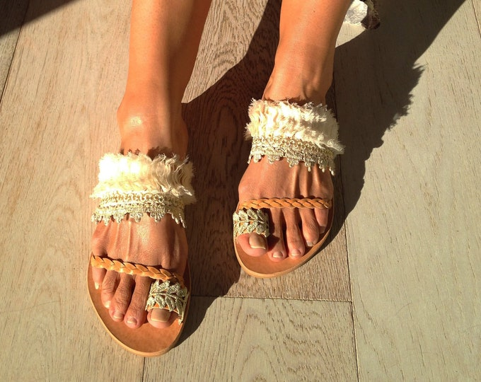 Wedding Greek Leather sandals, Slingback handmade flats, Decorated Monica sandals, Ethnic festival summer shoes