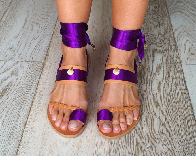 "Handmade to order Sandals ""Andros"", purple colour, Greek Leather Embellished Sandals, Boho decorated flats, Ethnic Festival Shoes"