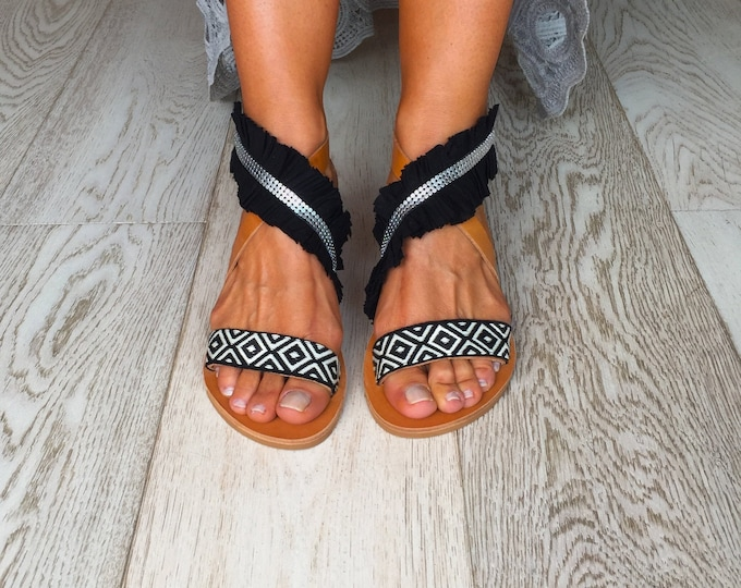 "Bohemian decorated Greek Leather sandals, hippy chic style, Handmade to order women shoes, ""Kasos"" Black and White sandals"