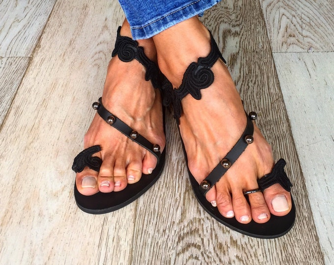 "Handmade to order Greek leather sandals, Bohemian flats, Black ""Aktis"" sandals"