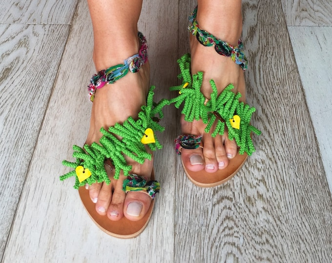 "Bohemian Greek Leather sandals, Handmade to order flats, ethnic shoes, Decorated Green sandals, ""Eve's Garden"" shoes."