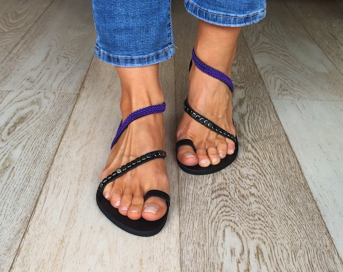 "Simple and elegant Greek leather sandals, Handmade to order summer flats, Decorated black and purple ""Ikaria""  sandals"