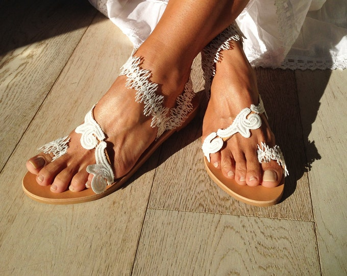 "Wedding Greek leather sandals, Boho Bridal flats, Decorated Handmade to order ""Olivia"" sandals"