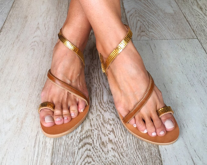 "Handmade to order Greek leather sandals, Bohemian flats, Golden ""Lea"" sandals"