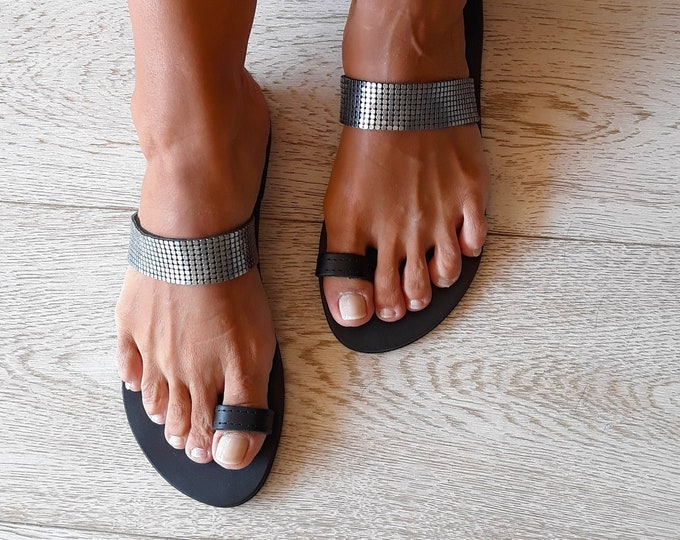 "Handmade to order Greek Leather Sandals, Decorated Black Silver flats, Summer statement Sandals ""Ioli"","