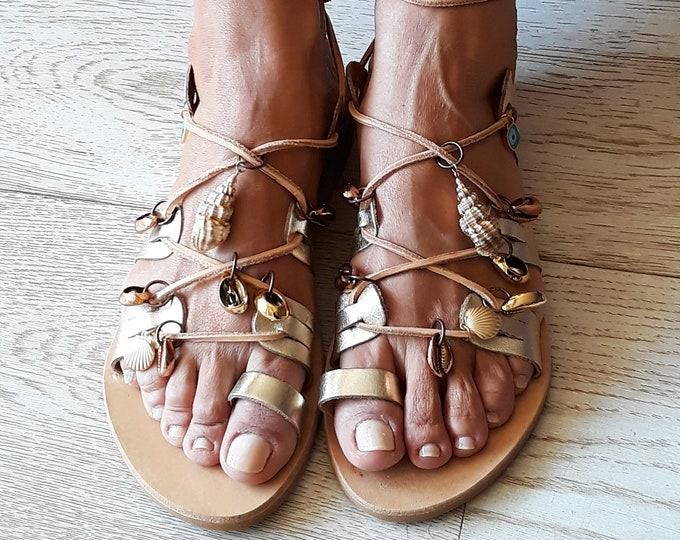 "Gladiator Greek Leather sandals, Decorated Boho flats, Handmade to order shoes, Embellished ""Helene"" sandals"