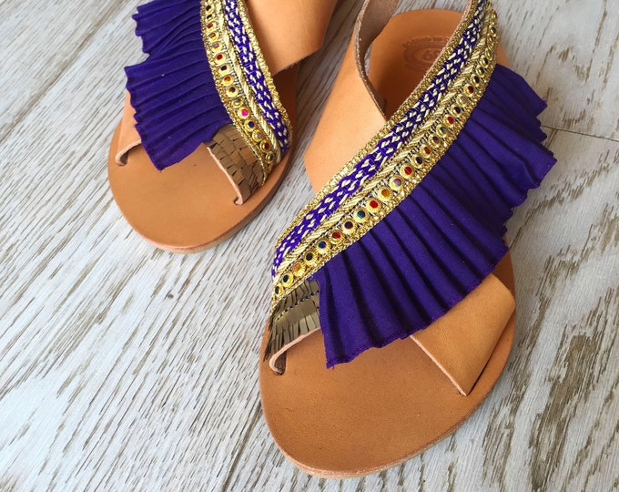 "Bohemian decorated Greek leather sandals , hippy chic style , Handmade to order women shoes, ""Donousa"" sandals"