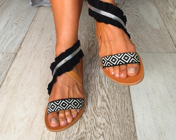 """Bohemian decorated Greek Leather sandals, hippy chic style, Handmade to order women shoes, """"Kasos"""" Black and White sandals"""