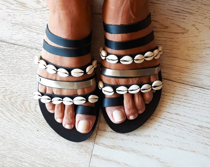 "Boho Greek Black Leather sandals, Handmade to order decorated summer shoes, Artisanal embellished ethnic flats ""Gaia"""